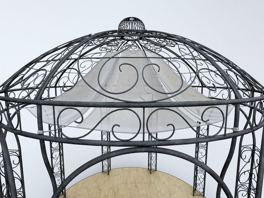 Steel Garden Gazebo With Greenery royalty-free 3d model - Preview no. 4