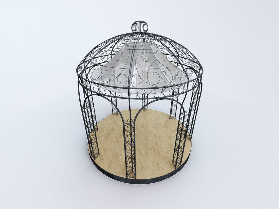 Steel Garden Gazebo With Greenery royalty-free 3d model - Preview no. 3