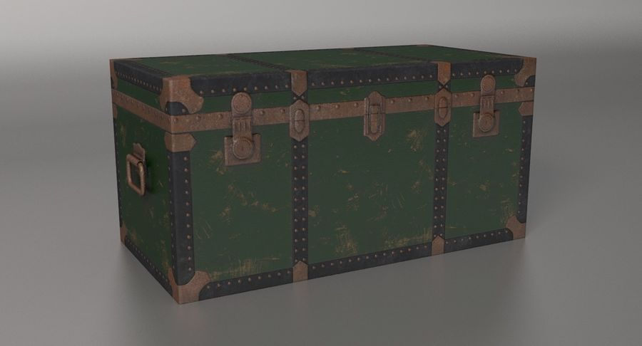 Antique Chest royalty-free 3d model - Preview no. 4