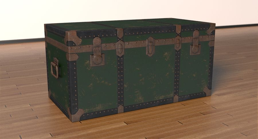 Antique Chest royalty-free 3d model - Preview no. 3