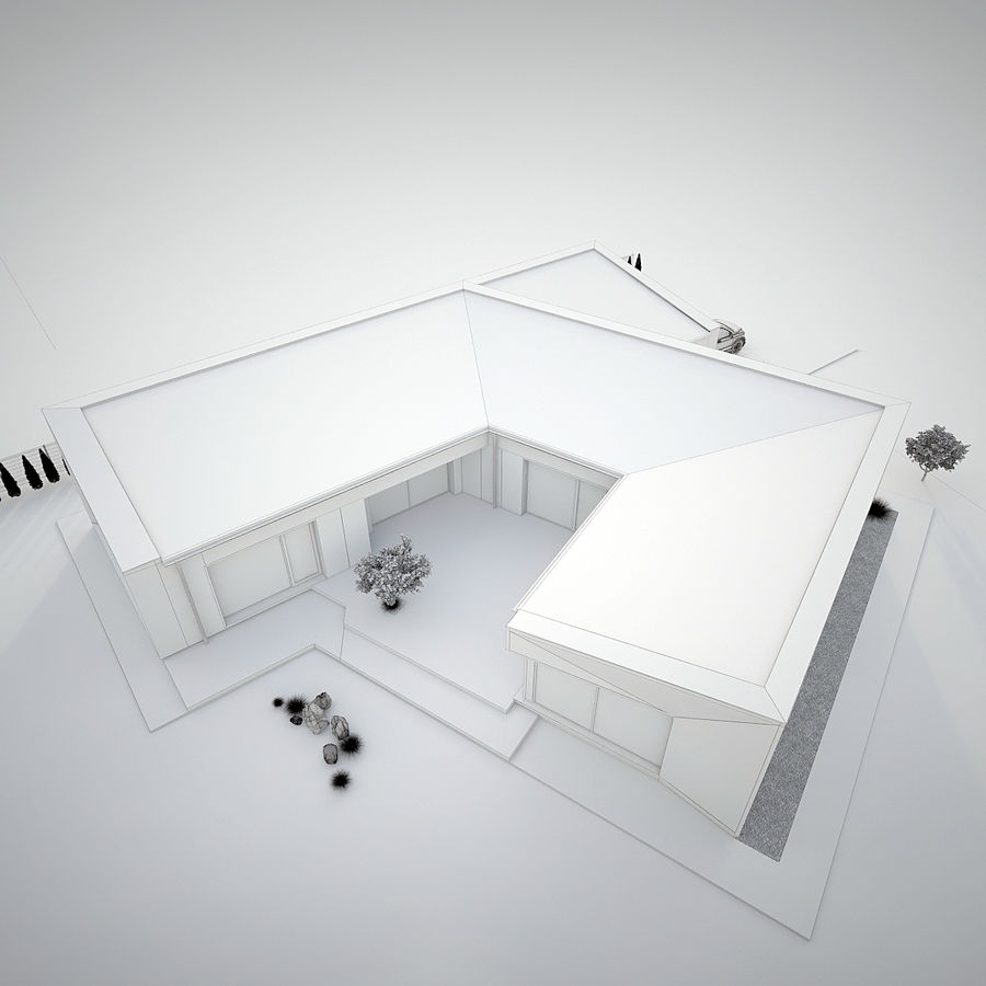Casa moderna royalty-free modelo 3d - Preview no. 8