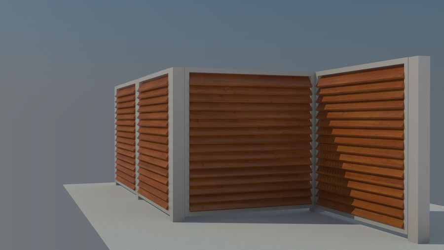 3 Typ Holzzaun royalty-free 3d model - Preview no. 10