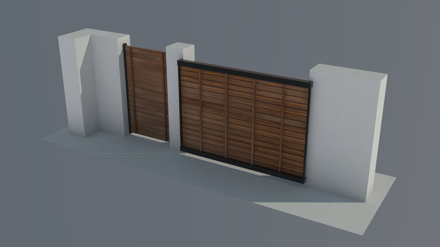 3 Typ Holzzaun royalty-free 3d model - Preview no. 4