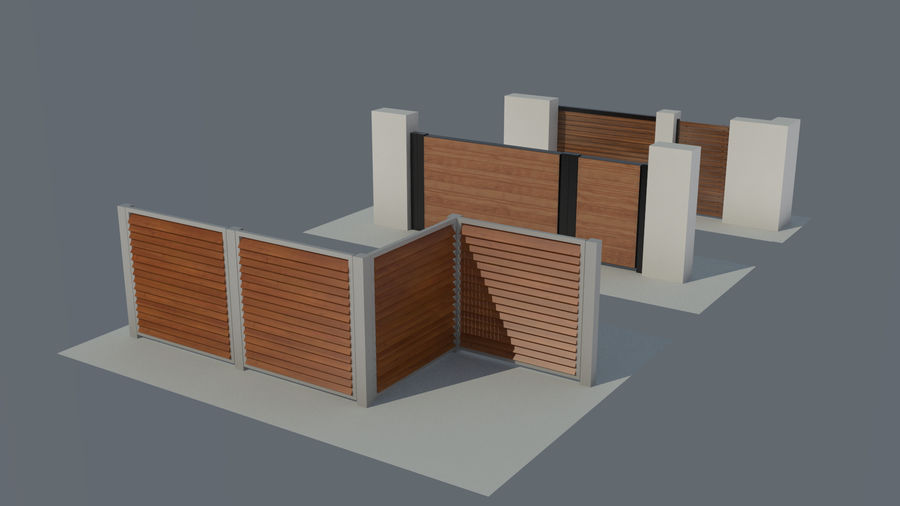 3 Typ Holzzaun royalty-free 3d model - Preview no. 1
