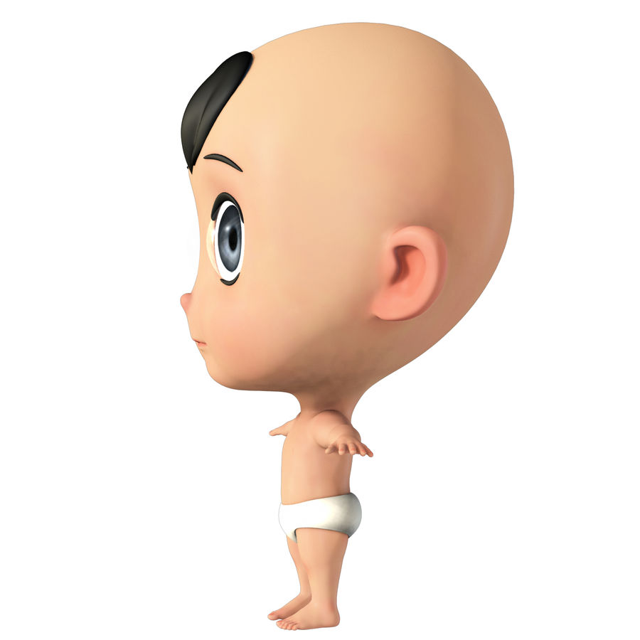 cartoon Baby opgetuigd v1 royalty-free 3d model - Preview no. 3