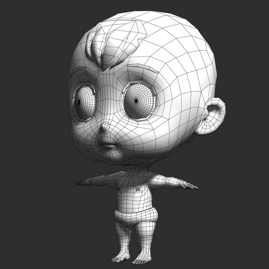 cartoon Baby opgetuigd v1 royalty-free 3d model - Preview no. 14