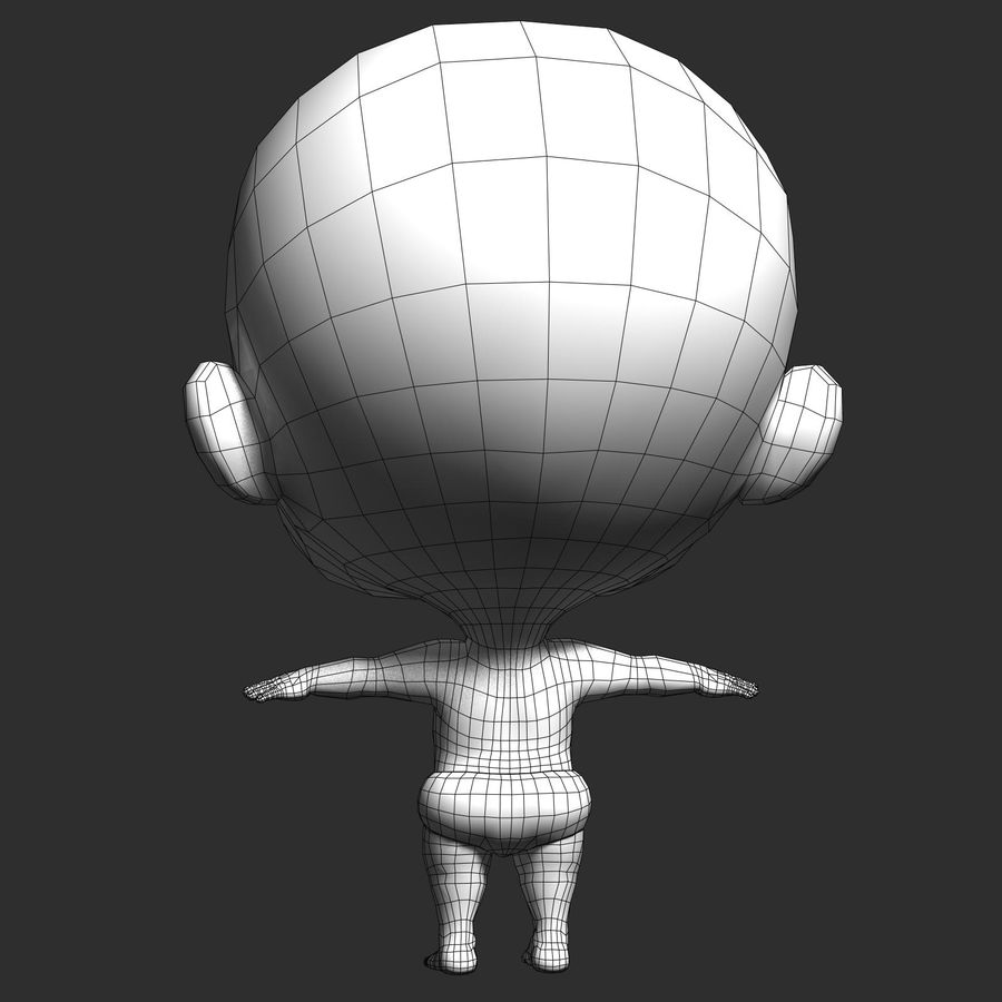 cartoon Baby opgetuigd v1 royalty-free 3d model - Preview no. 17