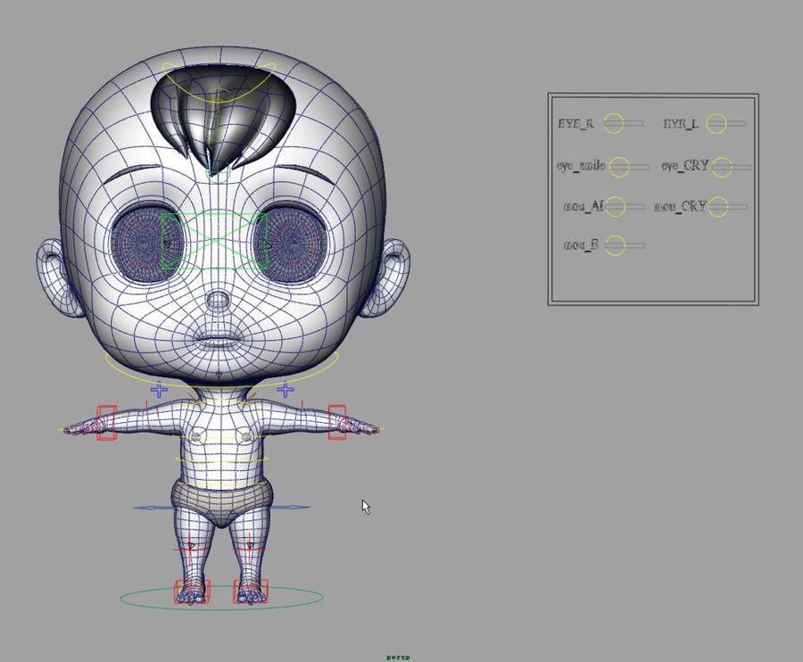cartoon Baby opgetuigd v1 royalty-free 3d model - Preview no. 22
