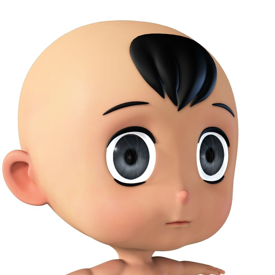 cartoon Baby opgetuigd v1 royalty-free 3d model - Preview no. 13