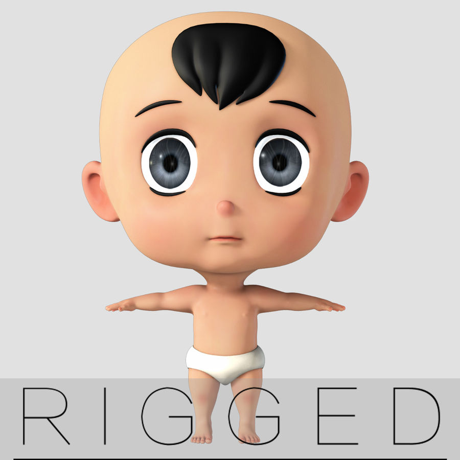 cartoon Baby opgetuigd v1 royalty-free 3d model - Preview no. 1