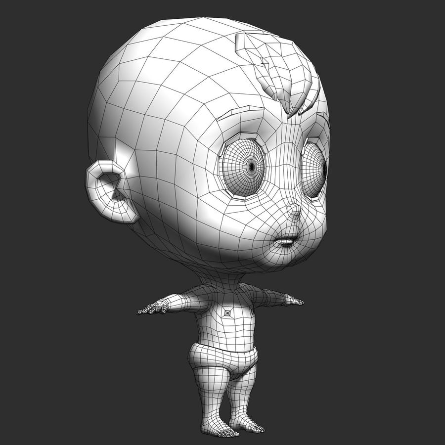 cartoon Baby opgetuigd v1 royalty-free 3d model - Preview no. 20
