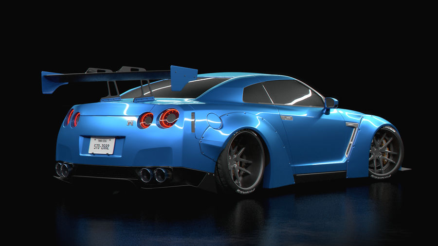 Nissan GTR R35 Liberty Walk royalty-free 3d model - Preview no. 2