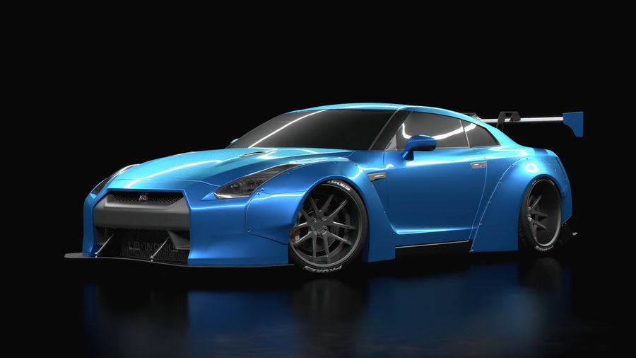 Nissan GTR R35 Liberty Walk royalty-free 3d model - Preview no. 1