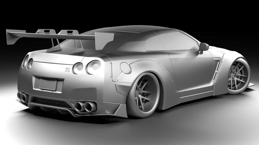 Nissan GTR R35 Liberty Walk royalty-free 3d model - Preview no. 6