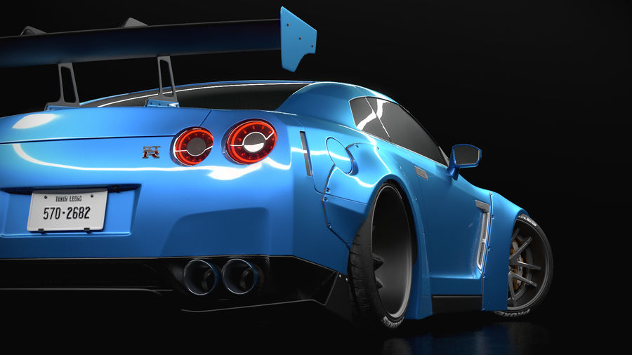 Nissan GTR R35 Liberty Walk royalty-free 3d model - Preview no. 4