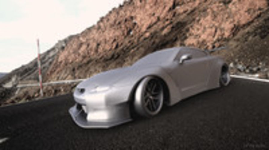 Nissan GTR R35 Liberty Walk royalty-free 3d model - Preview no. 11
