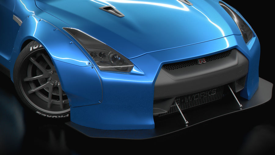 Nissan GTR R35 Liberty Walk royalty-free 3d model - Preview no. 3
