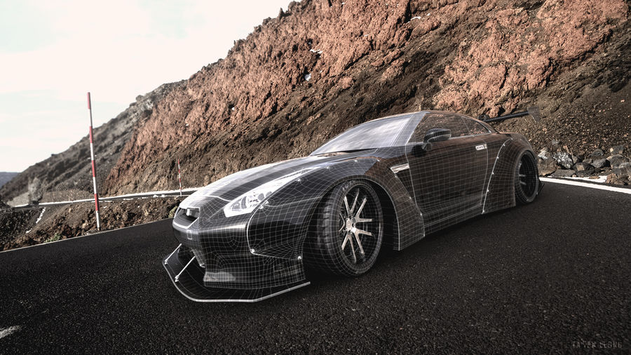 Nissan GTR R35 Liberty Walk royalty-free 3d model - Preview no. 10