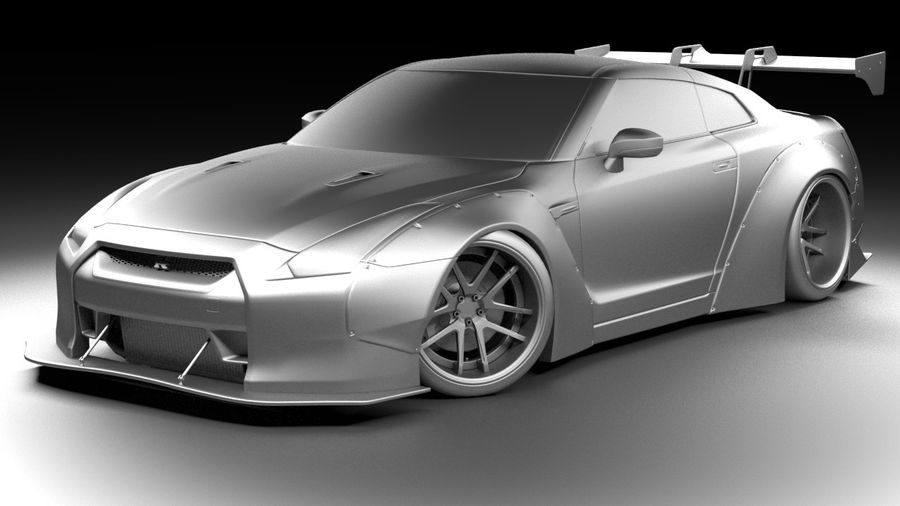 Nissan GTR R35 Liberty Walk royalty-free 3d model - Preview no. 5