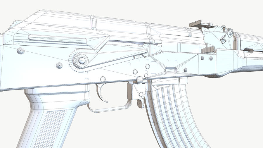 AKM (AK-47 AK-74) royalty-free 3d model - Preview no. 5