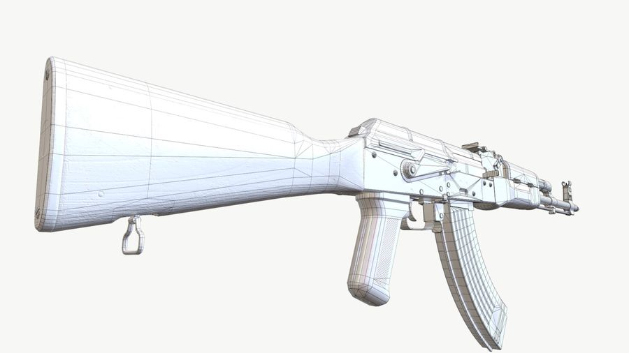 AKM (AK-47 AK-74) royalty-free 3d model - Preview no. 7