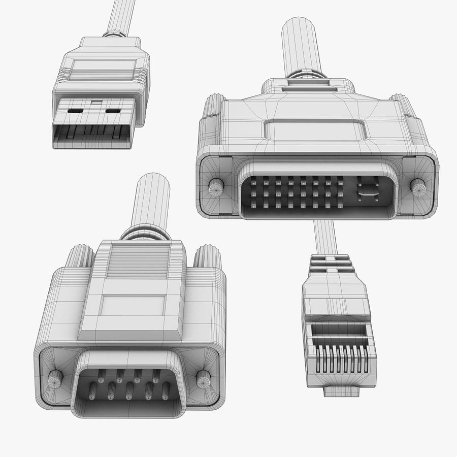 Electronic Plugs royalty-free 3d model - Preview no. 8