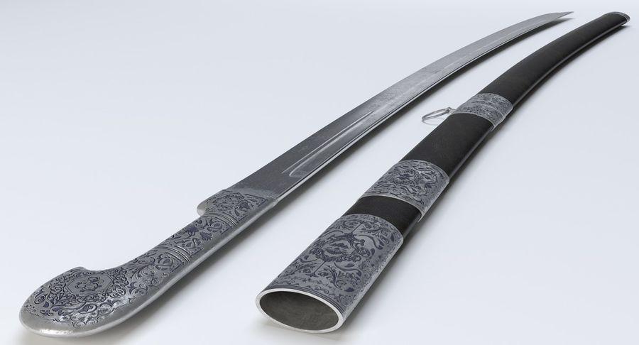 Caucasian Shashka Sword royalty-free 3d model - Preview no. 10