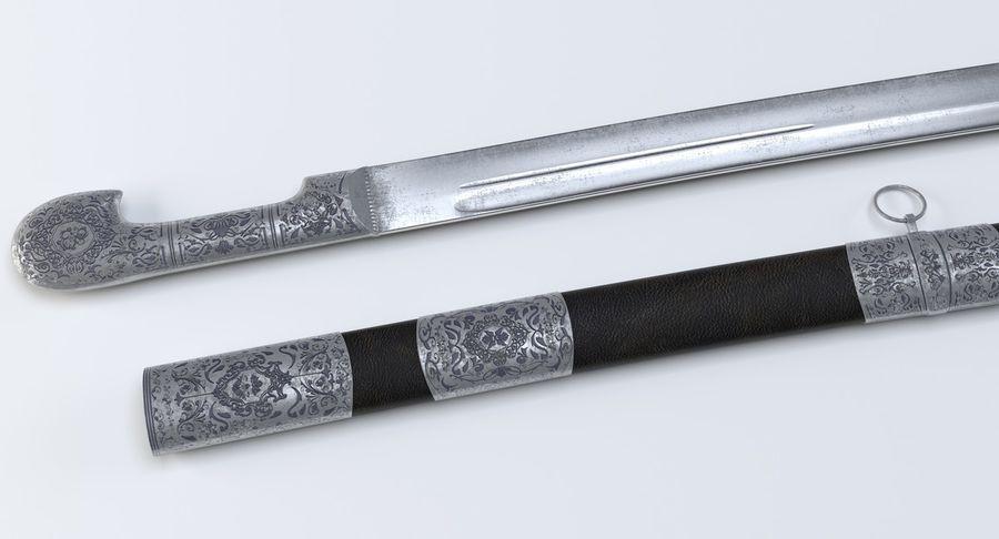 Caucasian Shashka Sword royalty-free 3d model - Preview no. 11