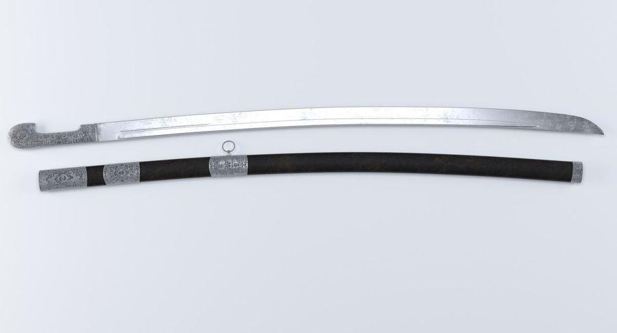 Caucasian Shashka Sword royalty-free 3d model - Preview no. 4
