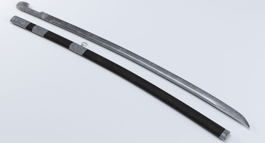 Caucasian Shashka Sword royalty-free 3d model - Preview no. 5