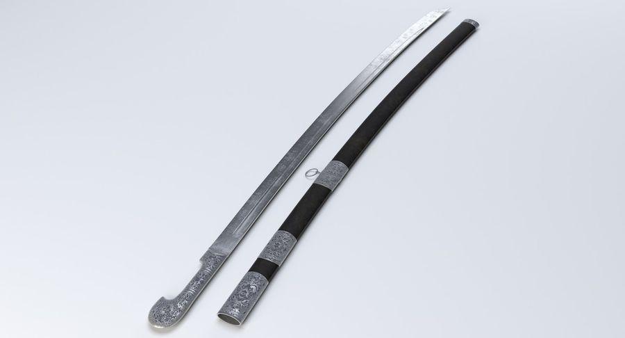 Caucasian Shashka Sword royalty-free 3d model - Preview no. 3
