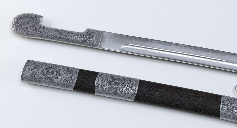 Caucasian Shashka Sword royalty-free 3d model - Preview no. 6