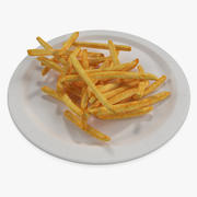 French Fries On Paper Plate 3d model