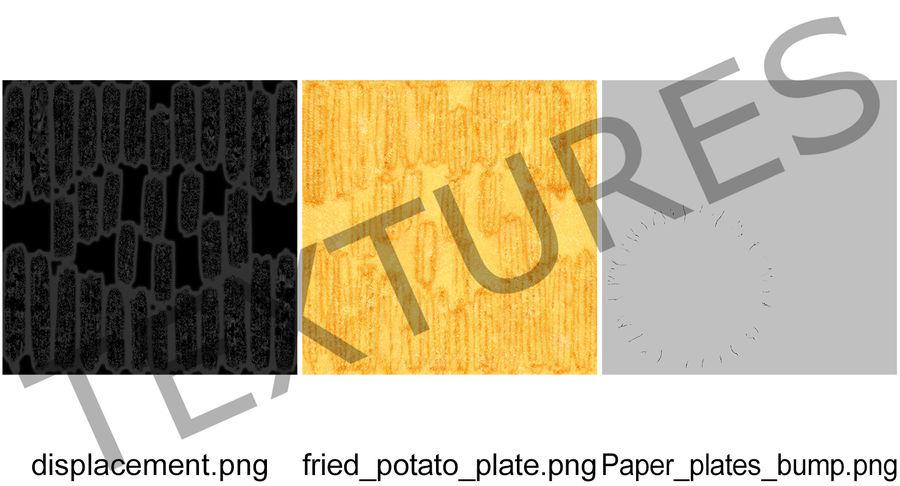在纸碟的炸薯条 royalty-free 3d model - Preview no. 11
