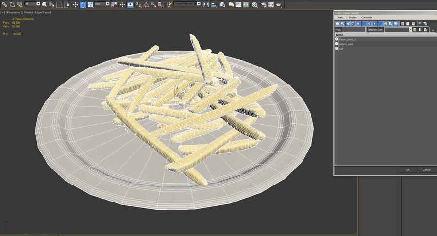 在纸碟的炸薯条 royalty-free 3d model - Preview no. 12