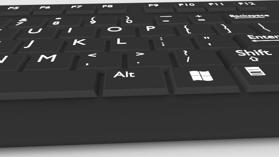 Computer Keyboard Wireless royalty-free 3d model - Preview no. 3