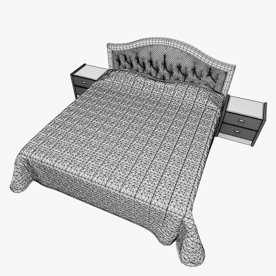 Letto in pelle con due comodini camera da letto royalty-free 3d model - Preview no. 7
