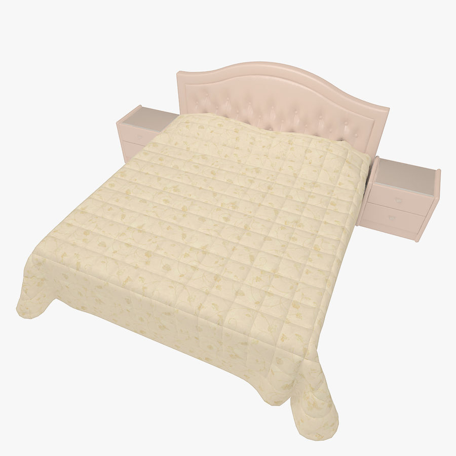 Letto in pelle con due comodini camera da letto royalty-free 3d model - Preview no. 1