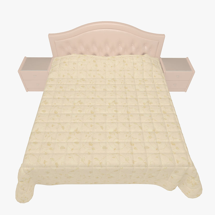 Letto in pelle con due comodini camera da letto royalty-free 3d model - Preview no. 2
