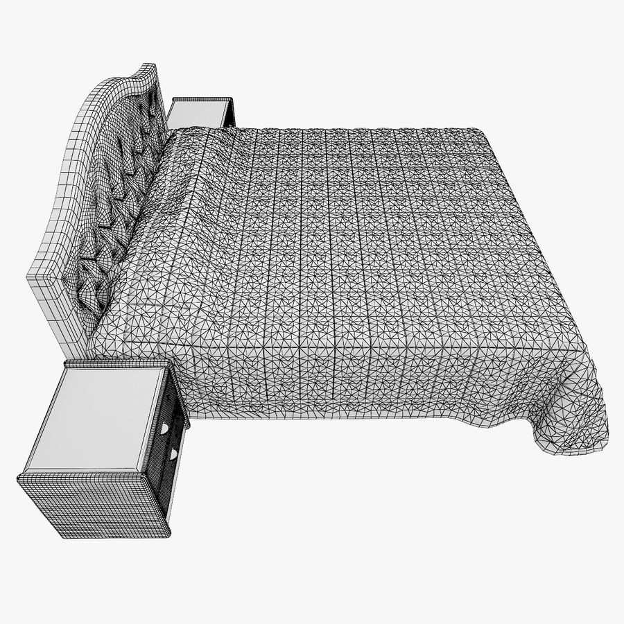 Letto in pelle con due comodini camera da letto royalty-free 3d model - Preview no. 12