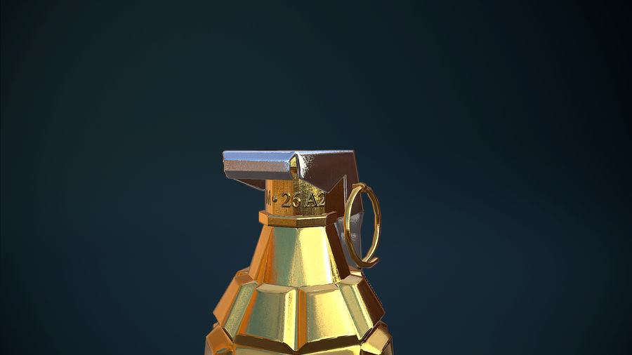Granata d'oro royalty-free 3d model - Preview no. 5