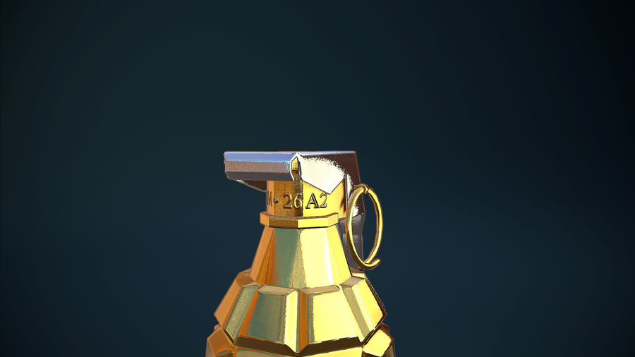Granata d'oro royalty-free 3d model - Preview no. 4