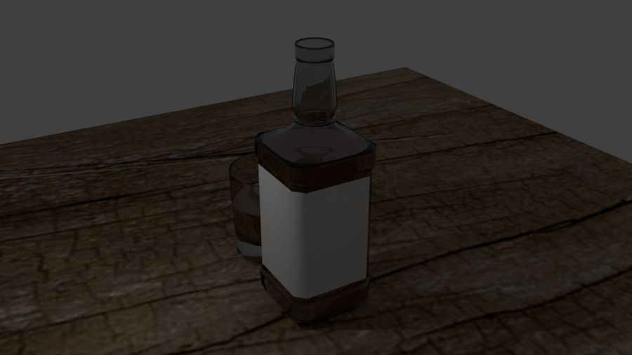 Whiskey bottle and glass royalty-free 3d model - Preview no. 7