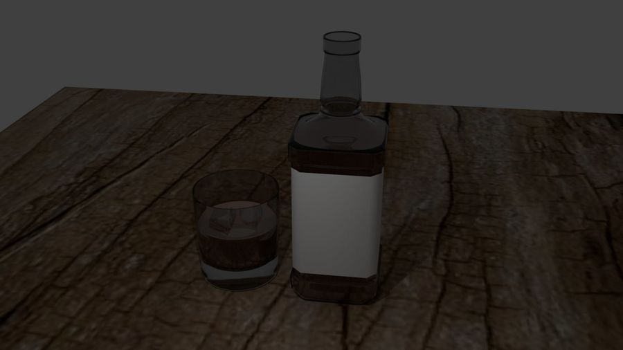 Whiskey bottle and glass royalty-free 3d model - Preview no. 8