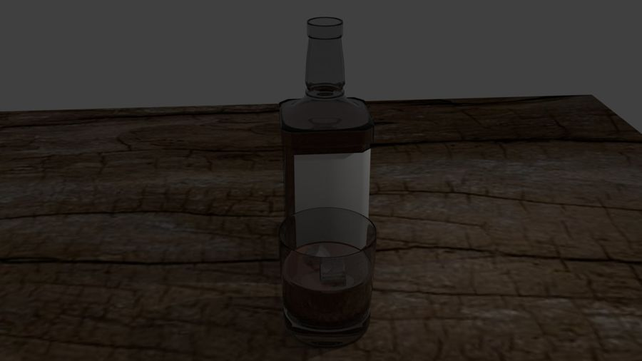 Whiskey bottle and glass royalty-free 3d model - Preview no. 3