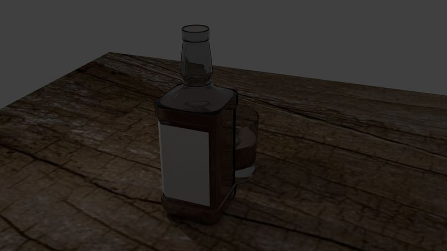 Whiskey bottle and glass royalty-free 3d model - Preview no. 6
