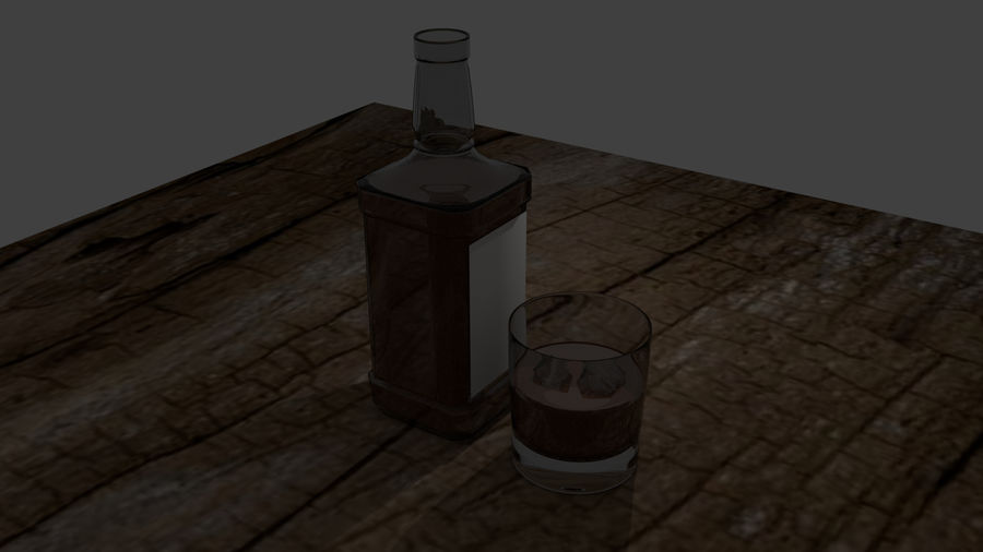 Whiskey bottle and glass royalty-free 3d model - Preview no. 4