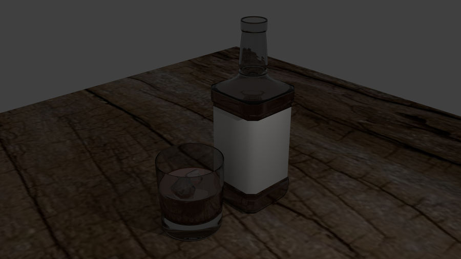 Whiskey bottle and glass royalty-free 3d model - Preview no. 1