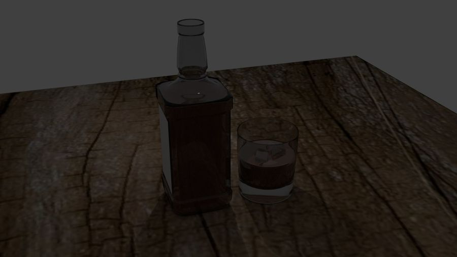 Whiskey bottle and glass royalty-free 3d model - Preview no. 5