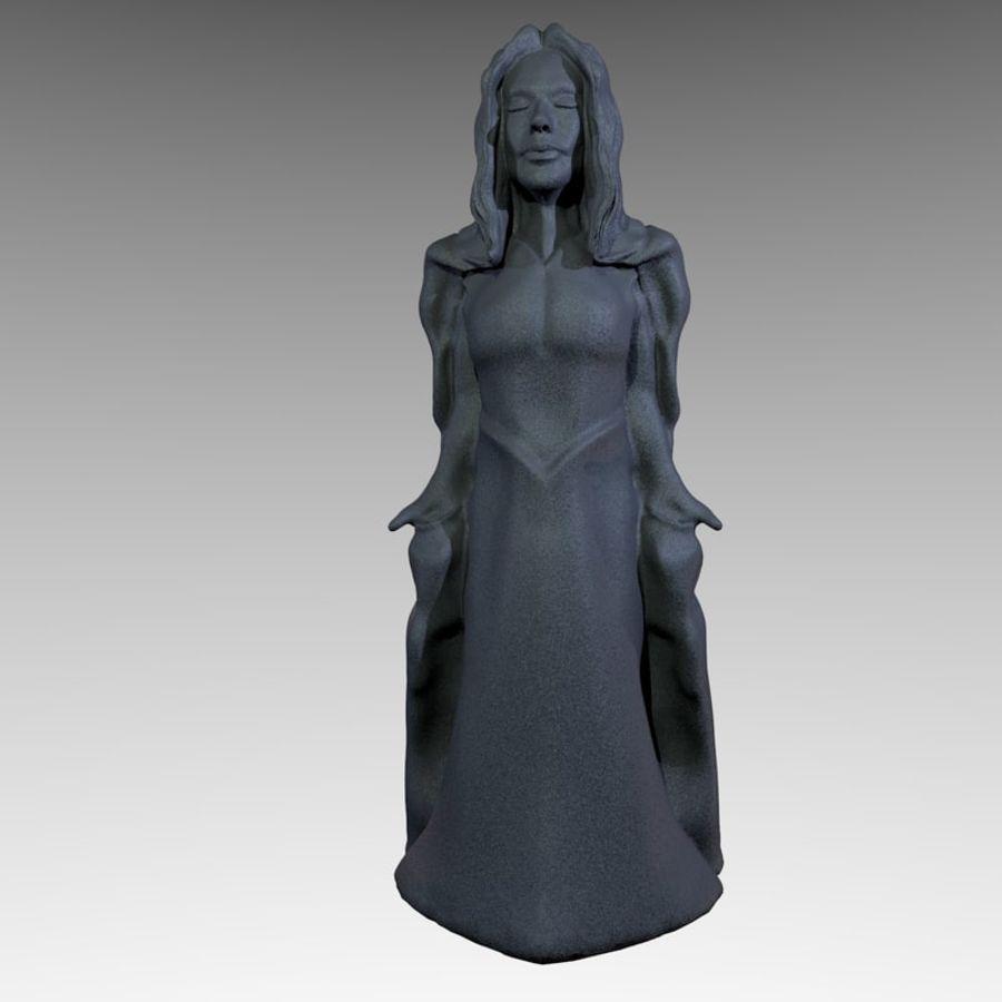 Estátua - monge fêmea royalty-free 3d model - Preview no. 3